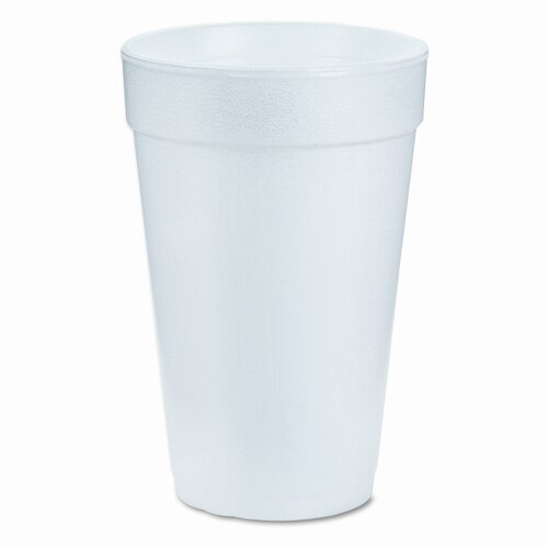 Dart Container Corp. Drink Foam Cups, 16 Ounces, White, 40 Bags of 25 Per Carton