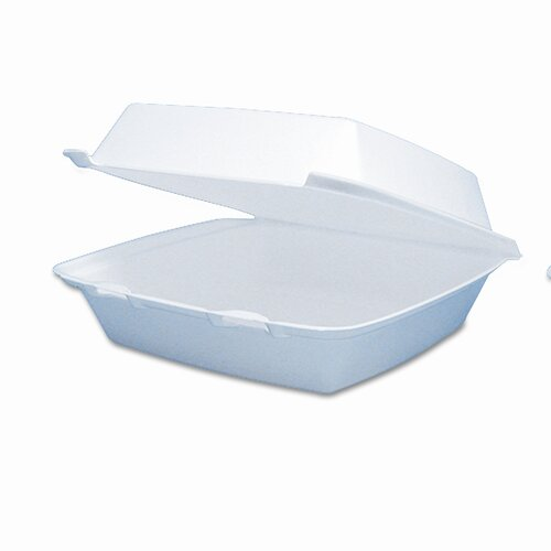 AmRep Dart Carryout Food Container, Foam Hinged 1-Compartment, 9-1/2 X 9-1/4 X 3, 200/Carton