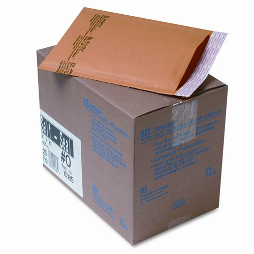 Sealed Air Corporation Jiffylite Self-Seal Mailer, Side Seam, #0, Golden Brown, 25/carton