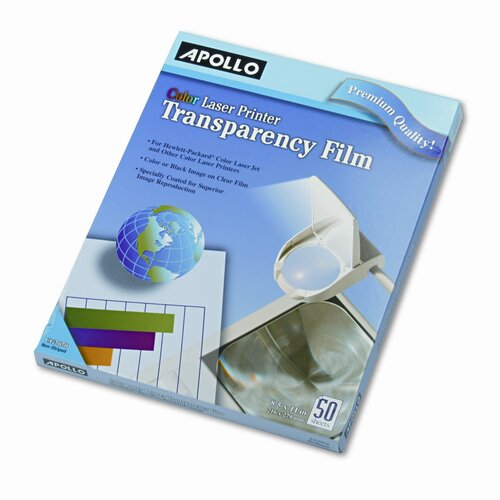 Apollo c/o Acco World Color Laser Printer/Copier Transparency Film, Letter, 50/Box