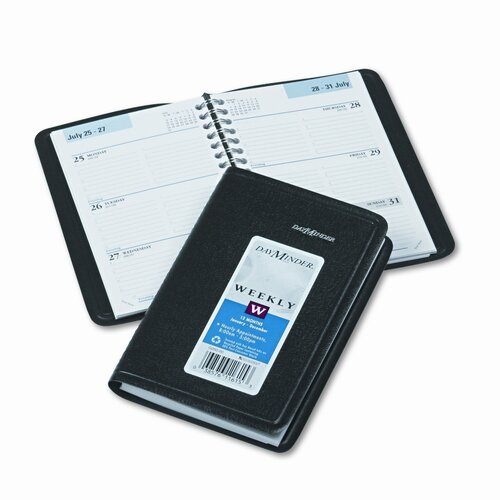 At-A-Glance Weekly Appointment Book, Hourly Appointments, Nonrefillable, 3-3/4 x 6, Black, 2014