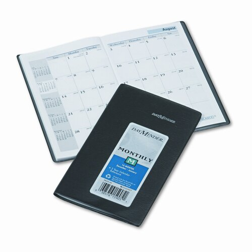 At-A-Glance 14-Month Unruled Monthly Planner, 3-3/8 x 6-1/16, Black