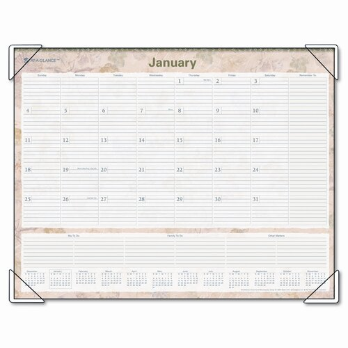 At-A-Glance LifeLinks Monthly Desk Pad Calendar, 22 x 17, 2014