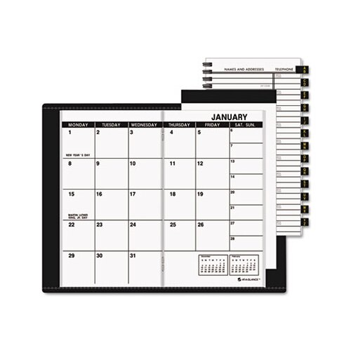 At-A-Glance Deluxe Monthly Pocket Planner, Unruled, 3-1/2 x 6-1/8, Black, 2013
