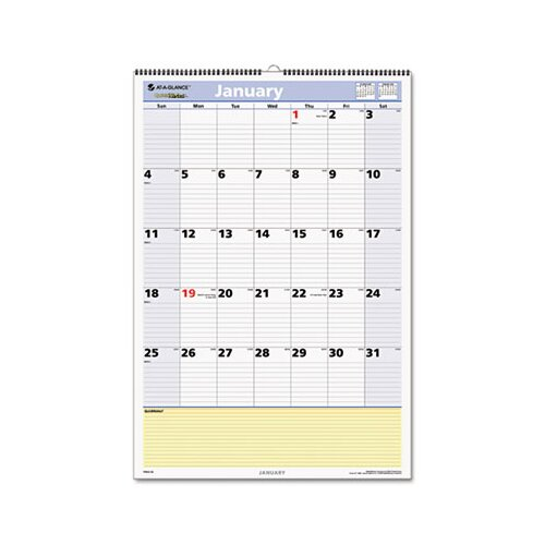At-A-Glance QuickNotes Monthly Wall Calendar, 13 Month January-January, 15-1/2 x 22-3/4, 2013