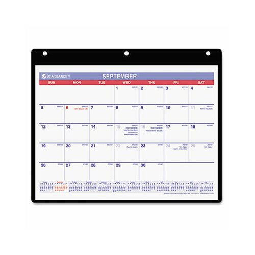 At-A-Glance Academic Monthly Desk Pad/Wall/Ring Binder Calendar, 3-Hole Punched, 11 x 8-1/4, 2013