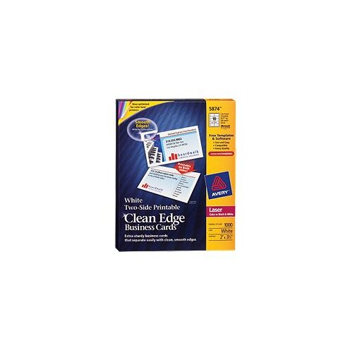 Avery Consumer Products Two-Side Clean Edge Laser Business Cards, 1000/Box