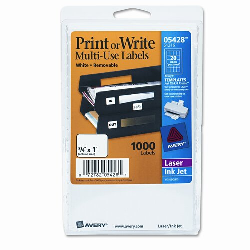 Avery Consumer Products Print or Write Removable Multi-Use Labels, 1000/Pack