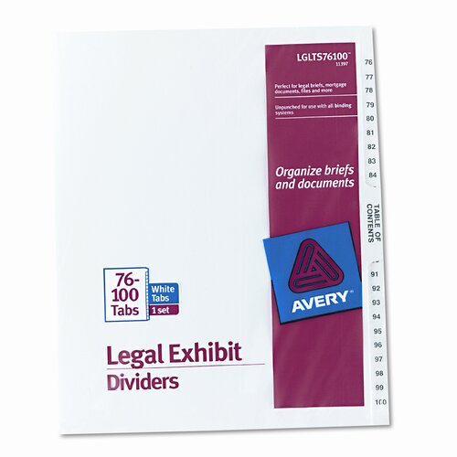 Avery Consumer Products Avery-Style Legal Side Tab Divider (1 Set)
