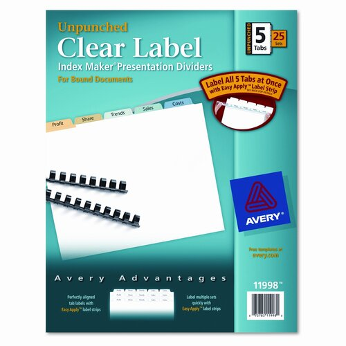Avery Consumer Products Index Maker Clear Label Contemporary Dividers (5 Tabs, 25 Sets/Pack)