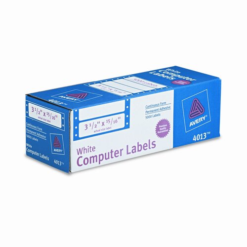 "Avery Consumer Products Dot Matrix Printer 1 Across Address Labels, 3.5"" Wide, 5000/Box"