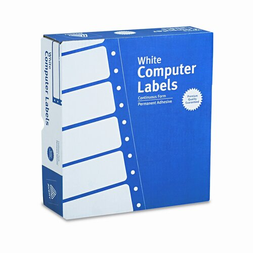 "Avery Consumer Products Dot Matrix Printer 3 Across Address Labels, 3.5"" Wide, 15000/Box"