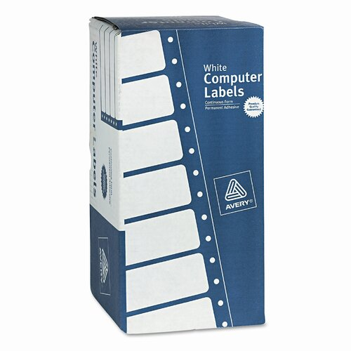 Avery Consumer Products Dot Matrix Printer 1 Across Shipping Labels, 3000/Box