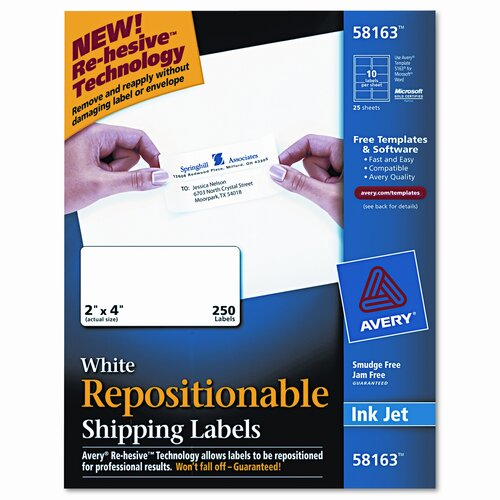 Avery Consumer Products Re-Hesive Inkjet Labels, 250/Box