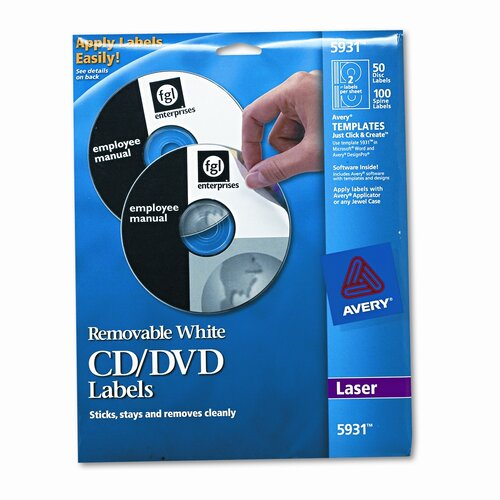 Avery Consumer Products 5931 Laser CD/DVD Labels, 50/Pack