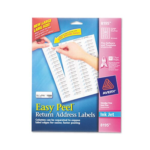 Avery Consumer Products Easy Peel Inkjet Return Address Labels, 1500/Pack