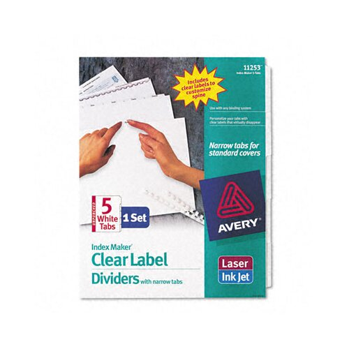 Avery Consumer Products Index Maker Clear Label Dividers (5 Tabs, 5 Sets/ Box)