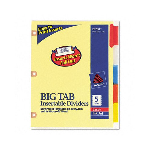Avery Consumer Products Worksaver Big Tab Dividers with CPR Holes (5 Tabs)