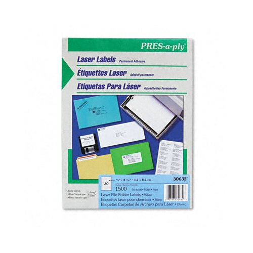 Avery Consumer Products Pres-A-Ply Laser File Folder Labels, 1500/Box