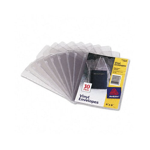 Avery Consumer Products Top-Load Clear Vinyl Envelopes with Thumb Notch, 10/Pack