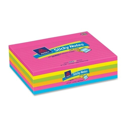 Avery Consumer Products Lay Flat Self-Adhesive Ruled Stick Note (Pack of 12)