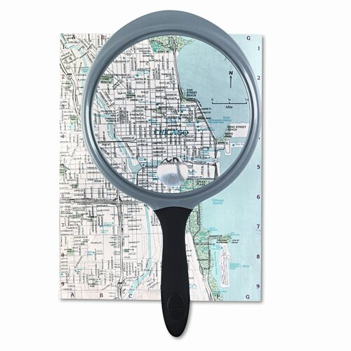 "Bausch & Lomb 2X - 4X Round Handheld Magnifier with 5"" Diameter Acrylic Lens"