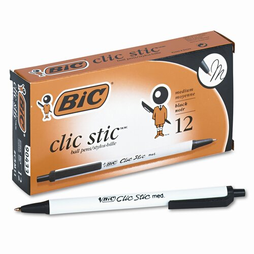 Bic Corporation Medium Clic Stic Ballpoint Retractable Pen, 12/Pack