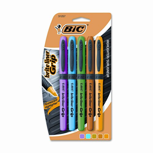 Bic Corporation Brite Liner Grip Highlighter, Chisel Tip, Five Fluorescent Colors per Set