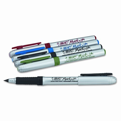 Bic Corporation Mark-It Permanent Markers, Ultra-Fine Point, Assorted Colors, 5/Pack