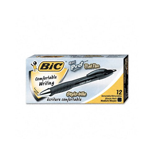 Bic Corporation Medium Pro+ Ballpoint Retractable Pen, 12/Pack