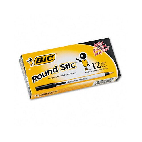 Bic Corporation Medium Round Stic Ballpoint Stick Pen, 12/Pack