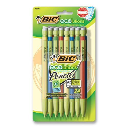 Bic Corporation Mecanical Pencil, Recycled, Nonrefillable, .7mm, 24/PK, Assorted