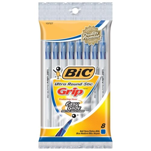 Bic Corporation Round Stic Pen,Comfort Grip,Nonrefillable,Med Point,8/PK,BE
