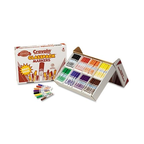 Crayola LLC Washable Classpack Markers, Broad Point, Assorted, 200/Pack