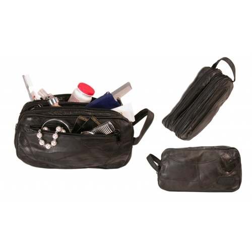 Bond Street, LTD. Patch Leather Design Travel Toiletries Case