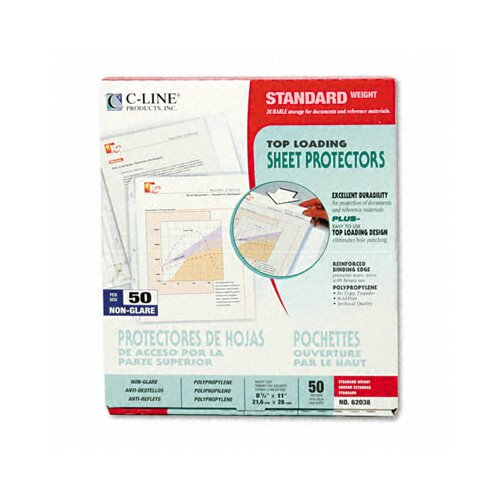 C-Line Products, Inc. Non-Glare Standard Weight Polypropylene Sheet Protector (50/Box)