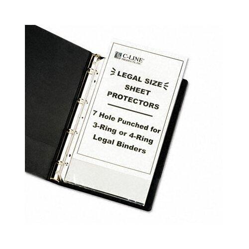C-Line Products, Inc. Hvywt Poly Sht Prtctor, Clear, Punched for 3 or 4-Ring Binder (50/Box)