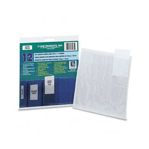 C-Line Products, Inc. Self-Adhesive Ring Binder Label Holders, 2 1/4 X 3 (12/Pack)