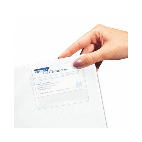 C-Line Products, Inc. Self-Adhesive Business Card Holders, Top Load, 3-1/2 X 2, Clear, 10/Pack