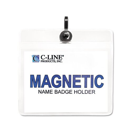 C-Line Products, Inc. Horizontal Magnetic Name Badge Holder Kit (20/Box)