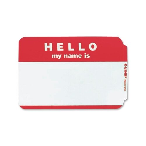 C-Line Products, Inc. Pressure Sensitive Badges with Hello My Name Is (100/Box)