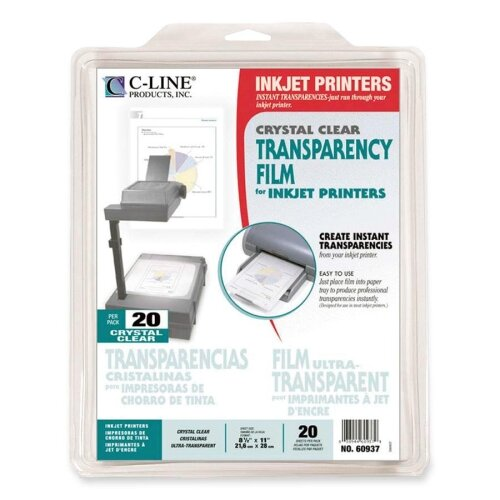 "C-Line Products, Inc. Transparency Film, Inkjet Printer, 8-1/2""x11"", 20 per Box, Clear"
