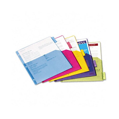 Cardinal Brands, Inc Poly 1-Pocket Index Dividers, 5-Tabs/Set, 4 Sets/Pack