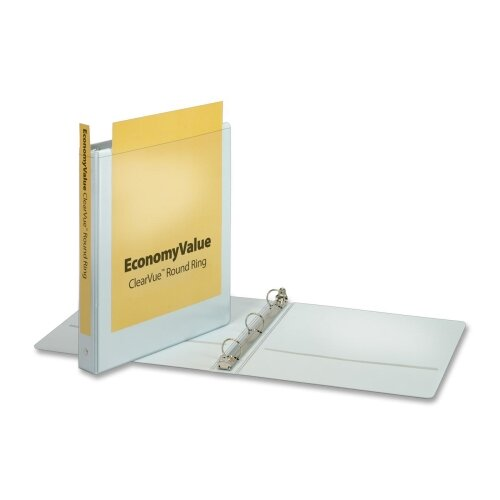"Cardinal Brands, Inc EconomyValue ClearVue Round-Ring Binders, Non-locking, 1"" Capacity, White"
