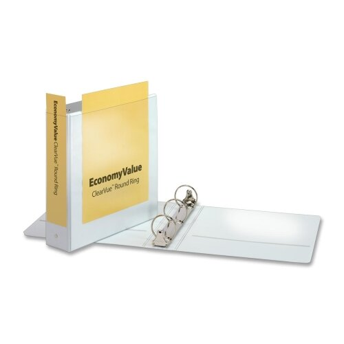 "Cardinal Brands, Inc EconomyValue ClearVue Round-Ring Binders, Non-locking, 2"" Capacity, White"