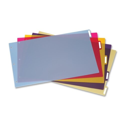 Cardinal Brands, Inc Tabloid-Size Poly Index Divider, 5-Tab, Assorted Colors