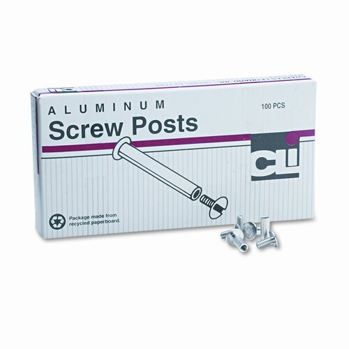 "Charles Leonard Co. Post Binder Aluminum Screw Posts, 0.18"" x 0.5"", 100/Box"