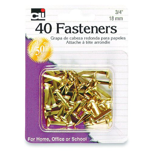 "Charles Leonard Co. Fasteners, Round head, 3/4"", 40 per Box, Brass"