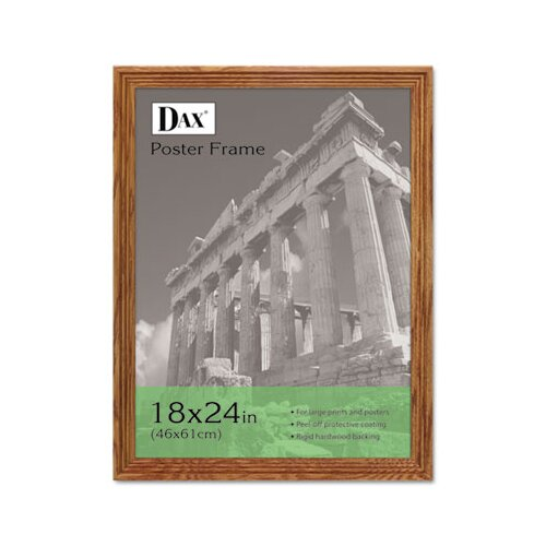 DAX® Plastic Poster Frame, Traditional with clear plastic window, 18 x 24, Medium Oak
