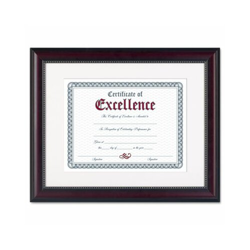 DAX® Prestige Document Frame, Matted w/Certificate, Walnut/Black, 11 x 14""